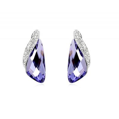 Серьги «Кристаллы» фиолетового цвета с инкрустированной вставкой