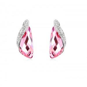 Серьги «Кристаллы» розового цвета с инкрустированной вставкой