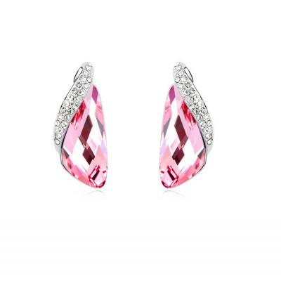 Серьги Кристаллы розового цвета с инкрустированной вставкой