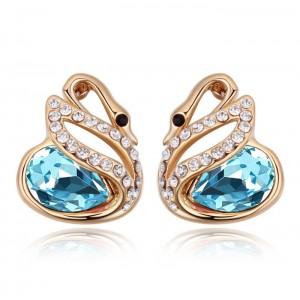 Серьги «Лебединая история» с голубыми кристаллами Сваровски