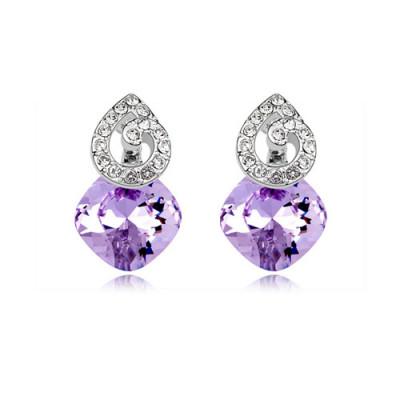 Серьги «Мелодия» с фиолетовыми кристаллами Сваровски