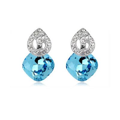 Серьги «Мелодия» с голубыми кристаллами Сваровски
