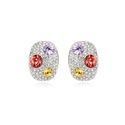 Серьги «Россыпь» с цветными кристаллами Сваровски