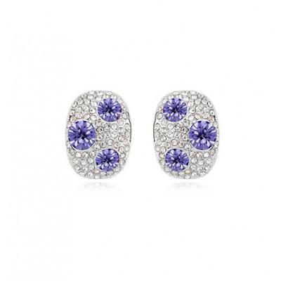 Серьги «Россыпь» с фиолетовыми камнями Сваровски