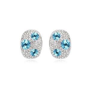Серьги «Россыпь» с голубыми кристаллами