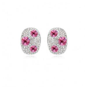 Серьги «Россыпь» с розовыми камнями Сваровски