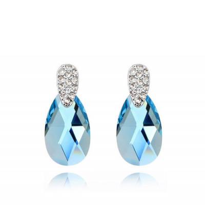 Серьги «Слеза Афродиты» с голубыми кристаллами Сваровски