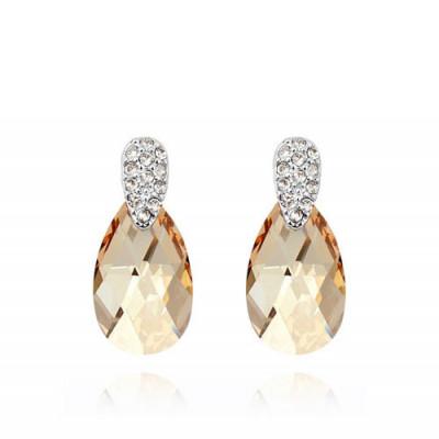 Серьги «Слеза Афродиты» с кристаллами Сваровски цвета шампань