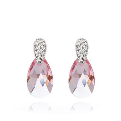 Серьги «Слеза Афродиты» с розовыми кристаллами Сваровски