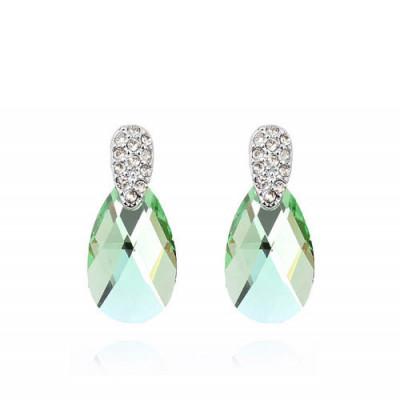Серьги «Слеза Афродиты» с зелеными кристаллами Сваровски