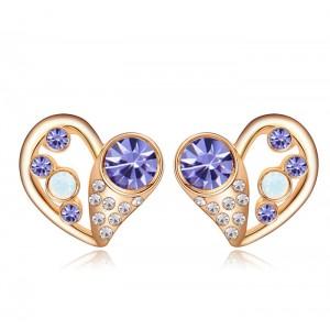 Серьги «Влюбленность» с фиолетовыми кристаллами