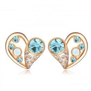 Серьги «Влюбленность» с голубыми кристаллами