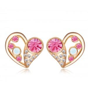 Серьги «Влюбленность» с розовыми кристаллами