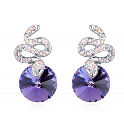 Серьги Змейки с фиолетовыми кристаллами Сваровски