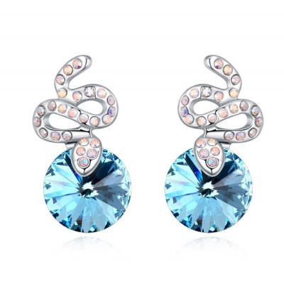 Серьги «Змейки» с голубыми кристаллами Сваровски