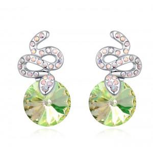 Серьги «Змейки» с кристаллами Сваровски цвета шампань