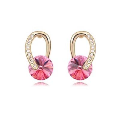 Серьги «Золотые подковы» с розовыми камнями Сваровски