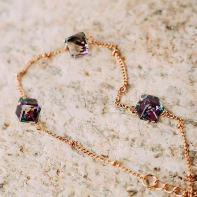 Браслет Миражи с фиолетовыми кристаллами-хамелеонами Сваровски