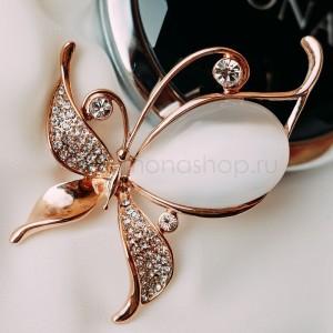 Брошь «Бабочка-белянка» с опалом и кристаллами