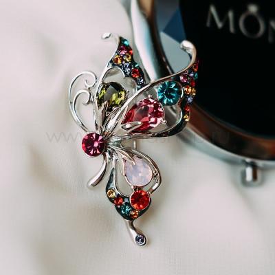 Брошь «Бабочка-махаон» с разноцветными кристаллами Сваровски