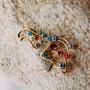Брошь «Яркая бабочка» с разноцветными кристаллами Сваровски