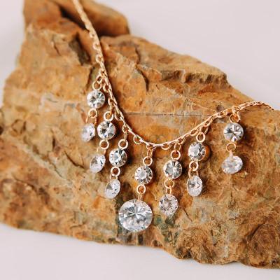 Колье Роскошь бриллиантов с подвесками из белых кристаллов