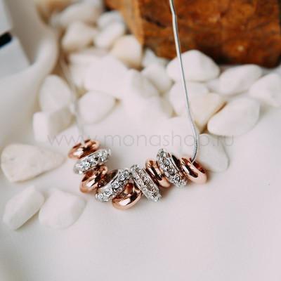 Колье «Улыбка» с подвесками и белыми кристаллами