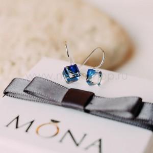 Серьги «Миражи» с синими кристаллами-хамелеонами Сваровски