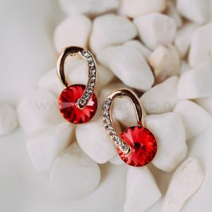 Серьги Золотые подковы с красными камнями Сваровски