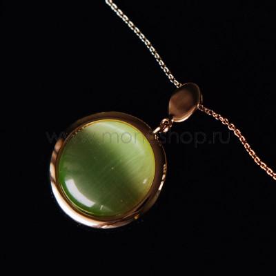 Кулон-круг Мята с зеленым опалом