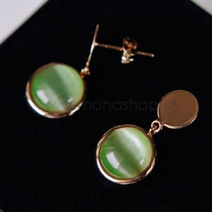 Серьги-круги «Мята» с зелеными опалами