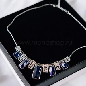 Колье «Привилегия» с синими прямоугольными кристаллами
