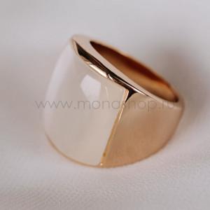 Кольцо «Отражение» широкое с бежевым опалом