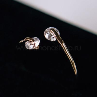 Кольцо разомкнутое «Поцелуй» с белыми кристаллами Сваровски