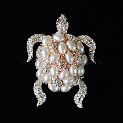 Брошь Черепаха с белым жемчугом и кристаллами Сваровски