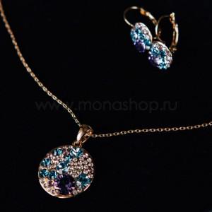 Комплект «Конфетти» с фиолетовыми кристаллами Сваровски