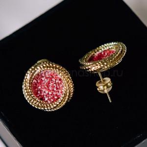 Серьги «Розовые круги» с фианитами в золотой оправе