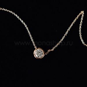 Кулон «Презент» с белым кристаллом Сваровски, покрытие - золото