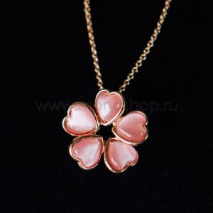Кулон «Аленький цветочек» из розовых сердец