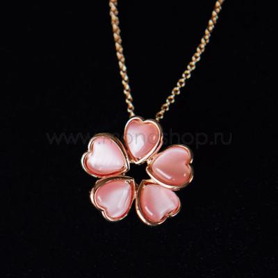 Кулон Аленький цветочек из розовых сердец