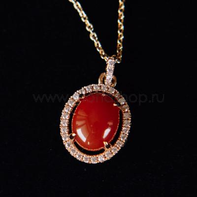 Кулон «Монпасье» красный с австрийскими кристаллами