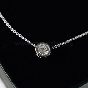 Кулон «Презент» с белым кристаллом Сваровски, покрытие - родий