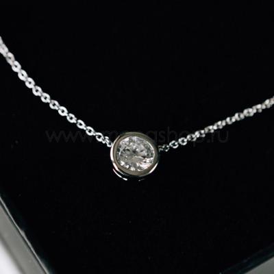 Кулон Презент с белым кристаллом Сваровски, покрытие - родий