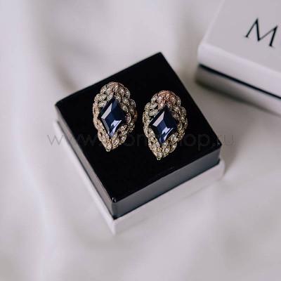Клипсы-ромбы Маркиза винтажные с синим кристаллом