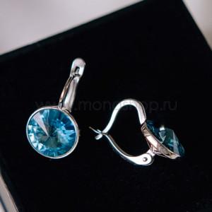 Серьги Чародейка с голубыми кристаллами Сваровски, покрытие - родий