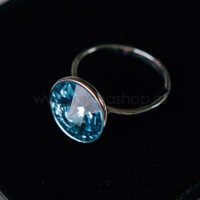 Кольцо «Чародейка» с голубым кристаллом Swarovski