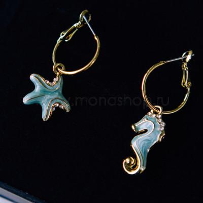 Серьги Морской конек и звезда с зеленым перламутром и кристаллами