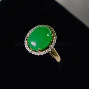 Кольцо «Монпасье» зеленое с австрийскими кристаллами, покрытие-золото