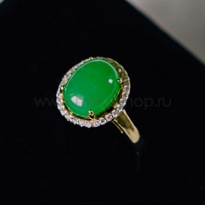Кольцо Монпасье зеленое с австрийскими кристаллами, покрытие-золото