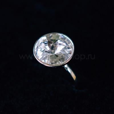 Кольцо «Чародейка» с белым кристаллом Swarovski